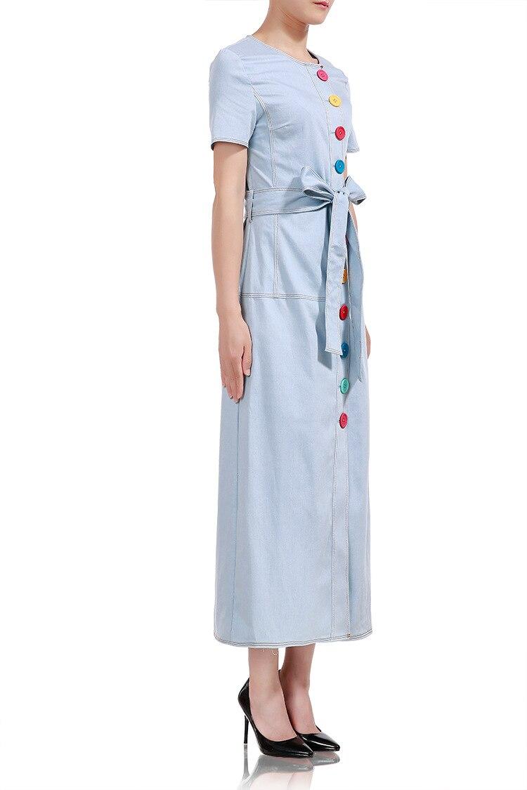 D'été Denim Longue Q017 Manches Ceinture Pu Piste Courtes À Robes Bouton Femmes Date Qualité Ciel Robe Designer Avec Coloré Haute IgbfvY7y6