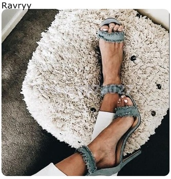 Denim Woman sandals light blue high heels cover heel sexy pumps ankle strap stiletto female party show shoes 2019 summer fashion