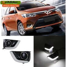 eeMrke LED Daytime Running Lights For Toyota Yaris Sedan Vios 2013 2014 2015 White DRL Light Fog Lamp Cover Kits