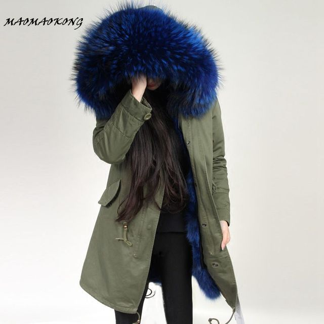 MAOMAOKONG Women Winter Coat Army Green Thick Parkas Plus Size Real Raccoon Fur Collar Hooded Fox Fur Lining Winter Jacket