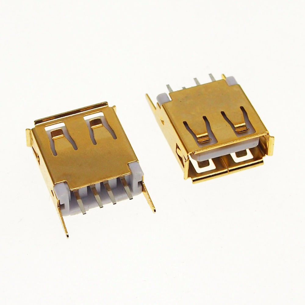 100pcs 24K Gold Plating USB A Female Socket Connector 13 7mm 180 degree straight foot
