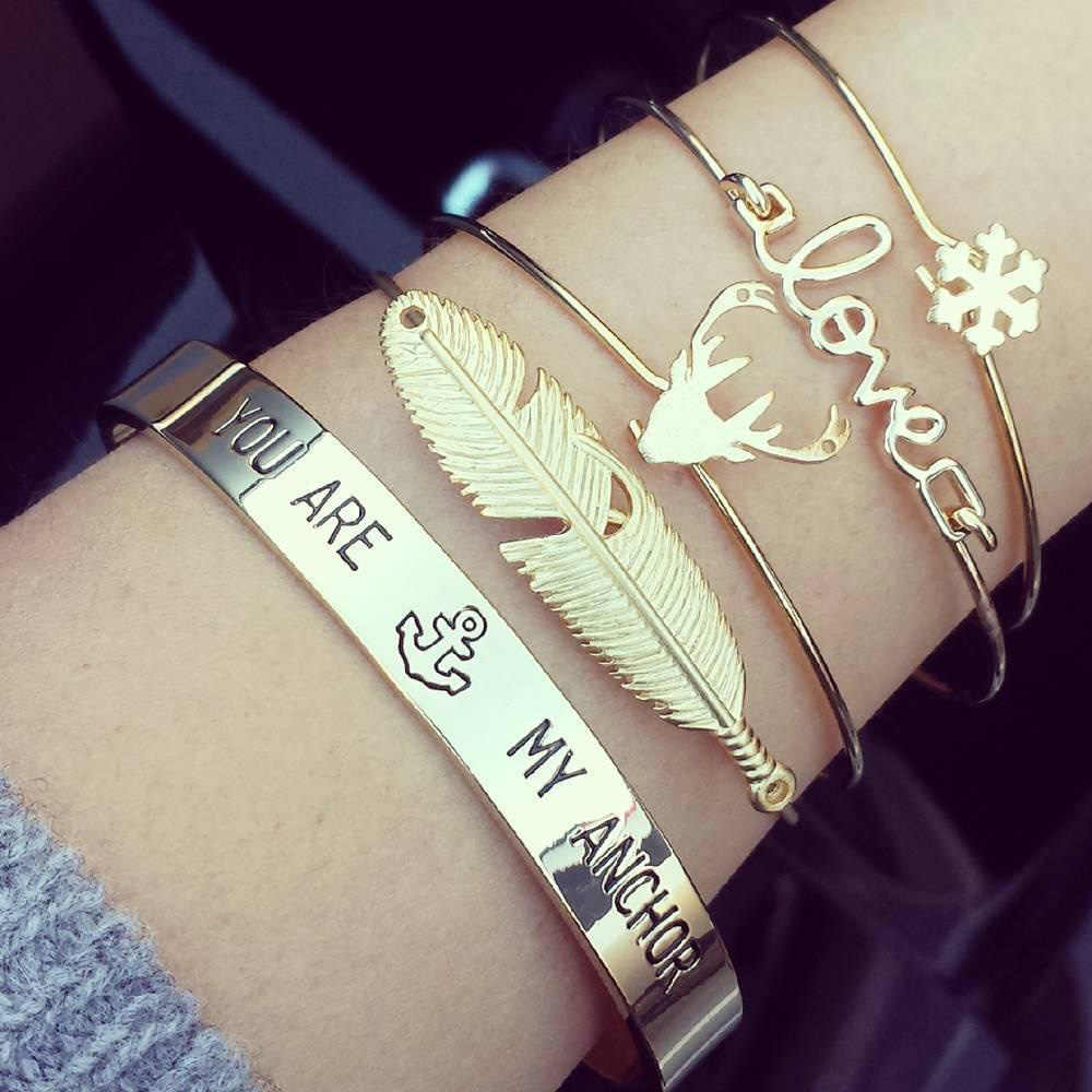 4 pcs/Set Gold Color Leaf Snowflake Love Deer Antlers Cuff Bangle Set For Women Open Adjustable Bracelet Jewelry Accessories