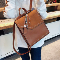 Women Casual Backpacks Solid Vintage Girls School Bags for Girls Black PU Leather Female Shoulder Bag