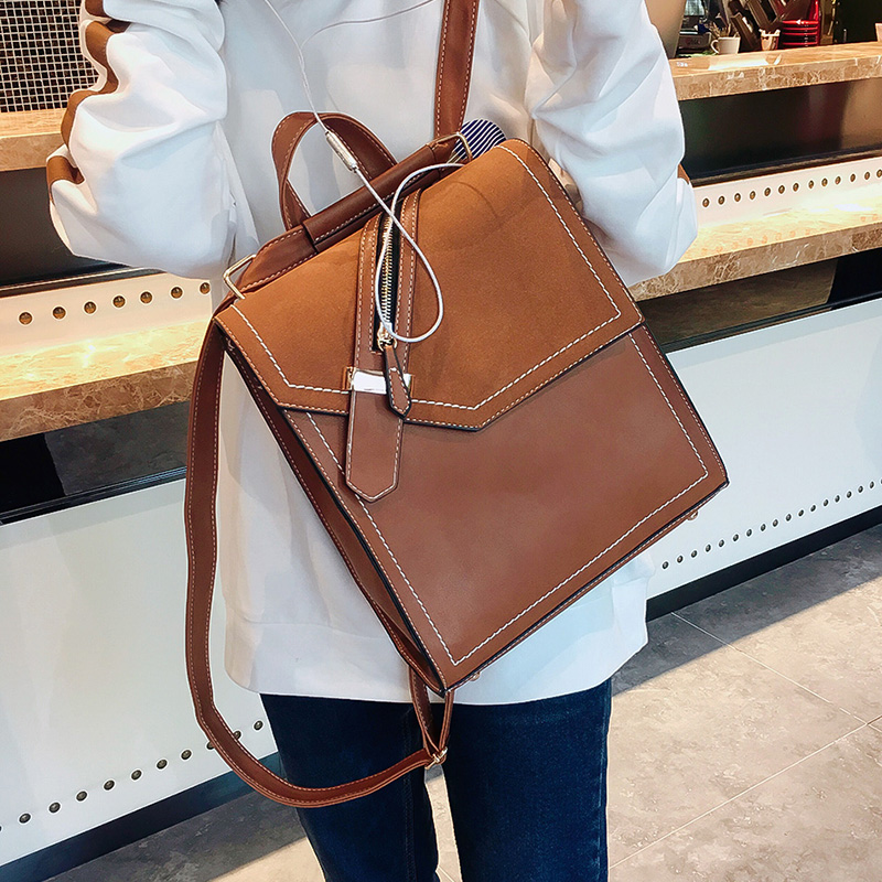 Women Casual Backpacks Solid Vintage Girls School Bags for Girls Black PU Leather Female Shoulder Bag
