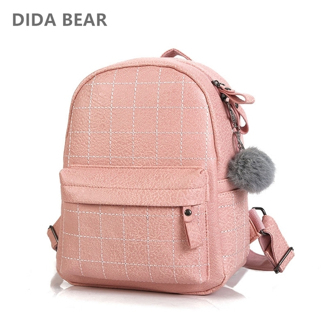 d2046354b9 DIDA BEAR Women Leather Backpacks School Backpack for Girls Teenagers  Female Plaid Travel Bag Rucksack Mochila Fashion Black Bag