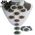 2017 Classic Plata de Nigeria beads africanos Boda joyería conjunto de Cristal collar pendientes pulsera Envío gratis GG-8