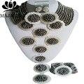 2017 Classic Silver Нигерии Свадебные африканские бусы комплект ювелирных изделий Кристалл ожерелье браслет серьги Бесплатная доставка GG-8