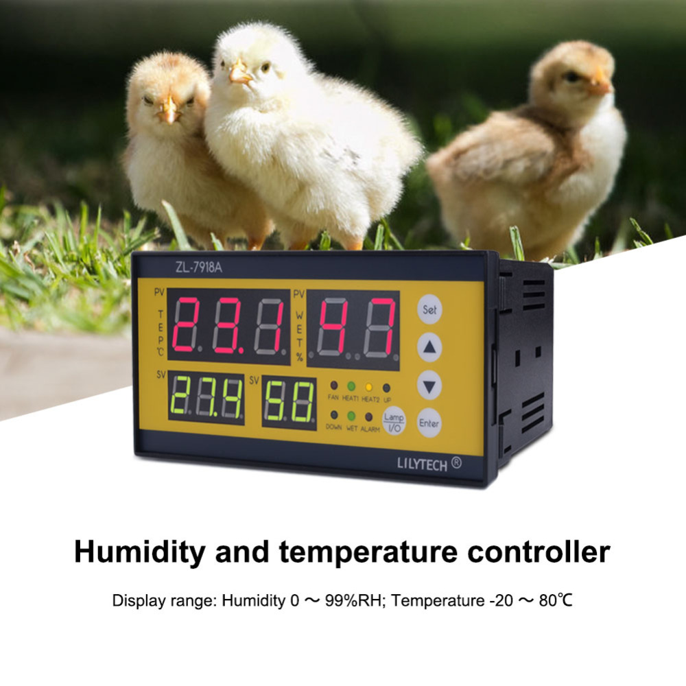 <font><b>ZL</b></font>-<font><b>7918A</b></font> AC100~240V Temperature and Humidity Controller for Poultry Egg Incubator, Mushroom Cultivation, Storage image