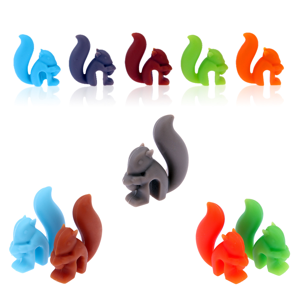 Home & Garden 5pcs/set Novelty Squirrel Party Dedicated Wine Glass Recognizer Silicone Label Wine Glasses Marker Wine Accessories Delicious In Taste