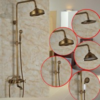 High Quality Copper Brass Bathroom 8 Rain Shower Set Hot Mixer Faucet Tap Set Chuveiro Torneira Antique Brass