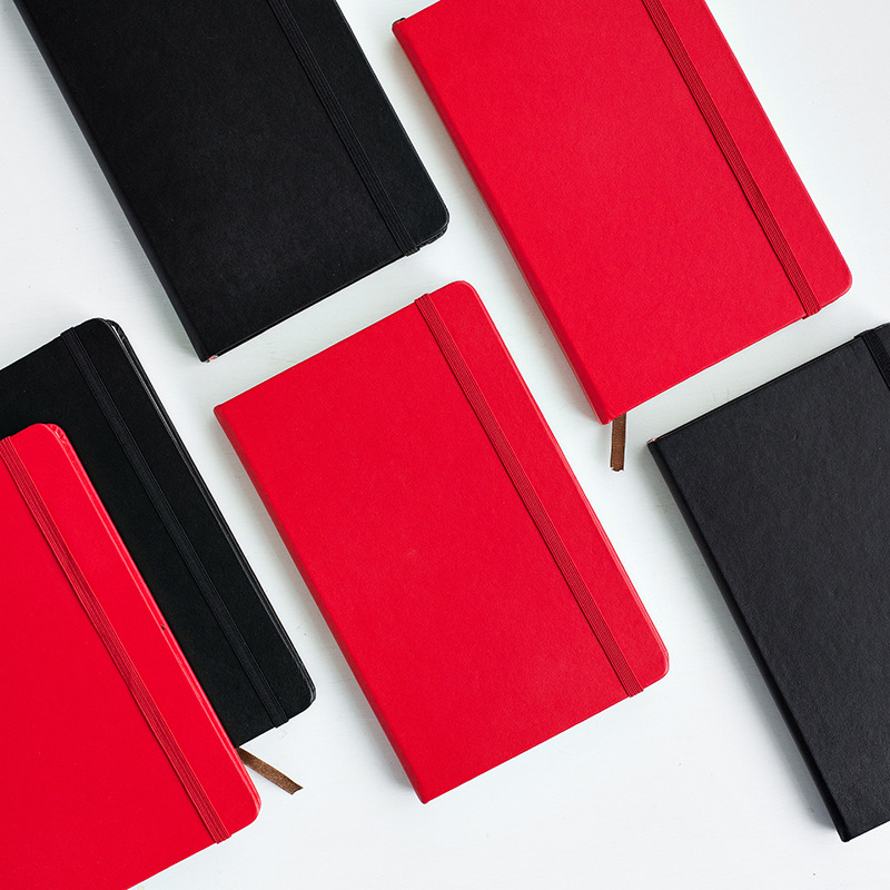 Korean A5 Binding Notebook Red/Black Craft PU Cover Composition Notepad Grid Blank Line the Office Accounts Recording Daily Memo kokuyo hotrock binding notepad soft copy a5 80wcn n1081 page 7