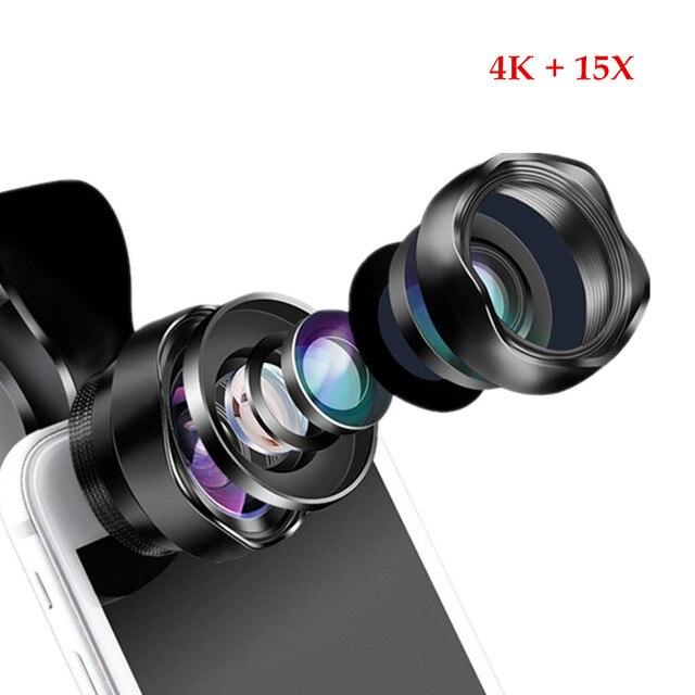 נייד 2 ב 1 אופטי עדשת 4 K HD מקצועי סופר רחב זווית & 15X מאקרו עדשה עבור iPhone אנדרואיד smartphone עדשת לא עיוות