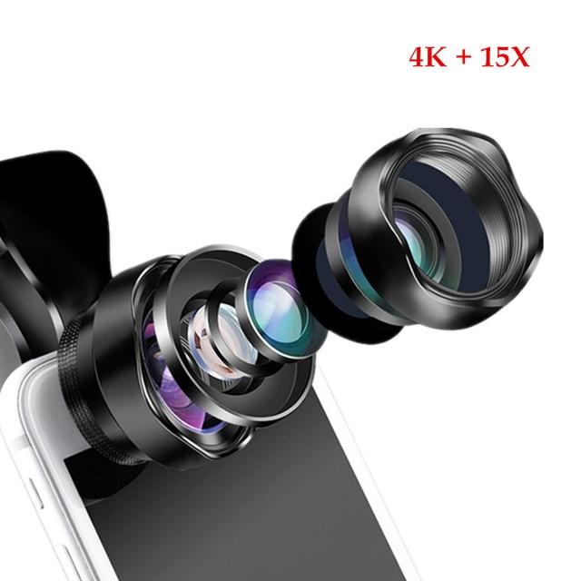 Portátil 2 em 1 lente óptica 4 k hd profissional super grande angular & 15x lente macro para iphone android smartphone lente nenhuma distorção