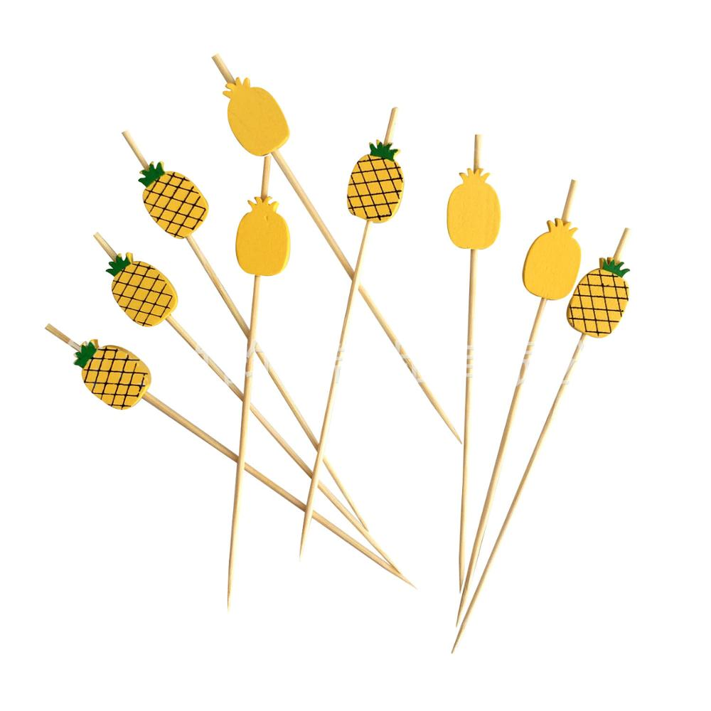 100 pieces 12cm pineapple shape fruit skewers bamboo skewers cocktail dessert fork wood fruit appetizer toothpick pearl fruit wo(China)