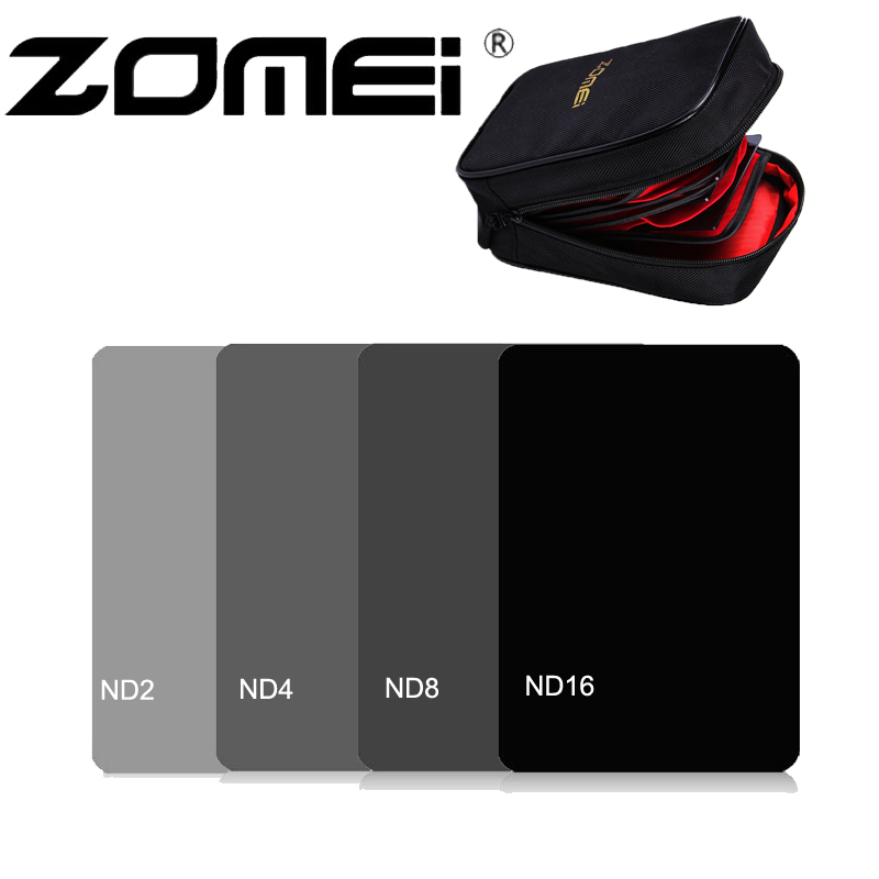 ZOMEI 100*150mm Square Neutral Density Filter Kit ND2+ND4+ND8+ND16 with 16 Solt Filter Bag for Cokin Z-Pro Camera Lens цена