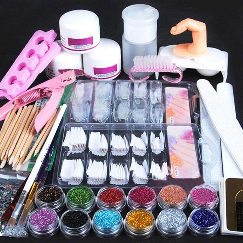 Buy acrylic nail art manicure kit 12 for Acrylic nail decoration supplies