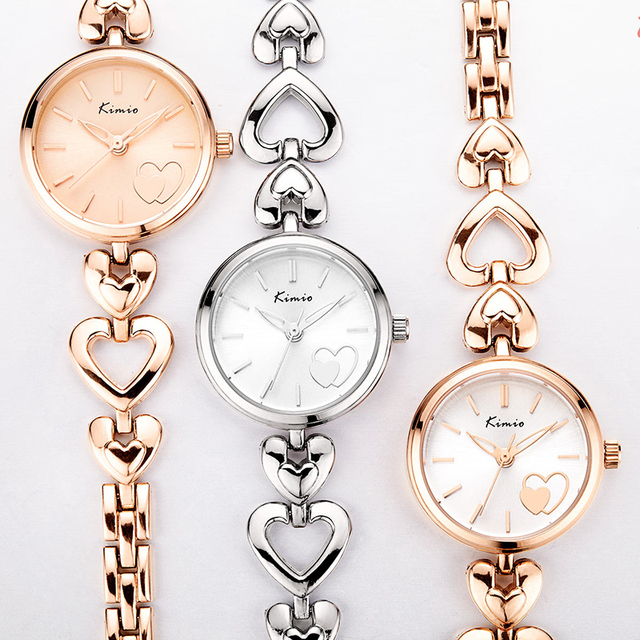 KIMIO Brand Women's Watches Shell Surface Love Heart Bracelet Watch Stainless Steel Quartz Wristwatch Ladies Dress Watch Clock