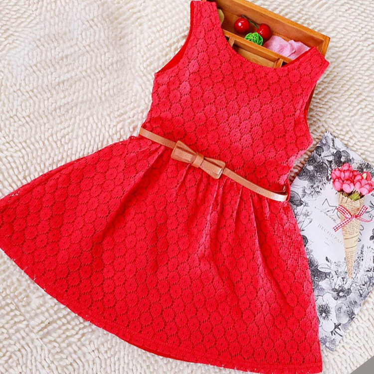 Berngi Summer Sundress Lace Cotton Little Girl Backless Dresses Girls Sleeveless Beach Dress Kids Vest Christmas Gift Free Belt ems dhl free shipping toddler little girl s 2017 princess ruffles layers sleeveless lace dress summer style suspender