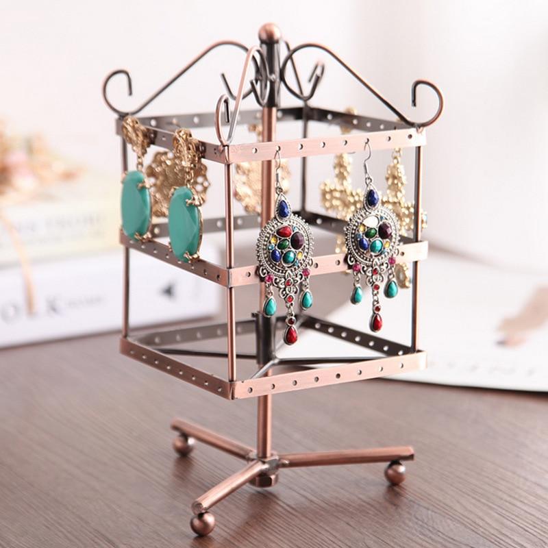 Square Rotating Jewellery Display Stand Black Metal