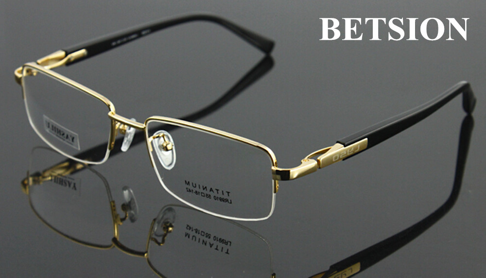 BETSION 100% Pure Titanium Spectacles Men Glasses Optical Eyeglass Frame Eyewear Rx Able