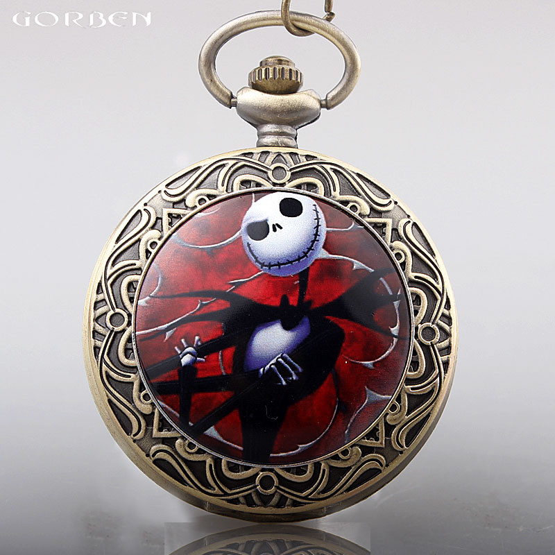 Jack Skellington Nightmare Before Christmas Of Tim Burton Pocket Watch Red Case Necklace Pendant Clock With Chain Women Men Gift