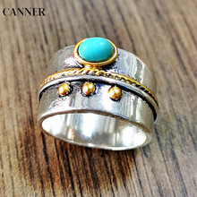 Canner Vintage Ring Men Classic Green Beaded Finger Punk Silver Rings For Women Girl Fashion Wedding Engagement Jewellery W4