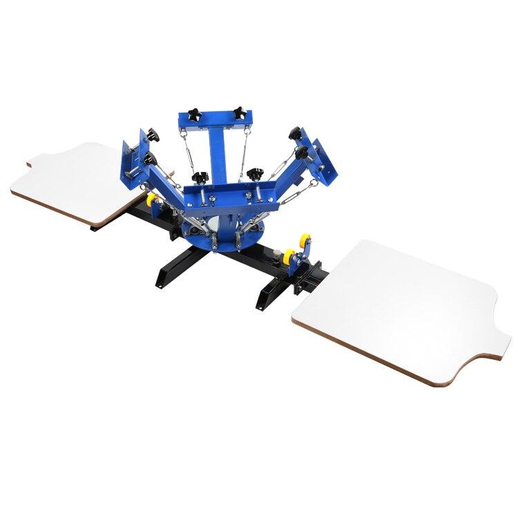 Machine d'impression d'écran 4 couleurs Machine d'impression d'écran en soie 2 Station dispositifs réglables presse imprimante bricolage équipement de chemise