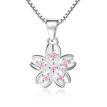 Love Good Luck Four Leaf Clover Pendants Cherry Blossom Peach Flower Necklaces Pink Purple Cubic Zirconia Necklace Women Luxury