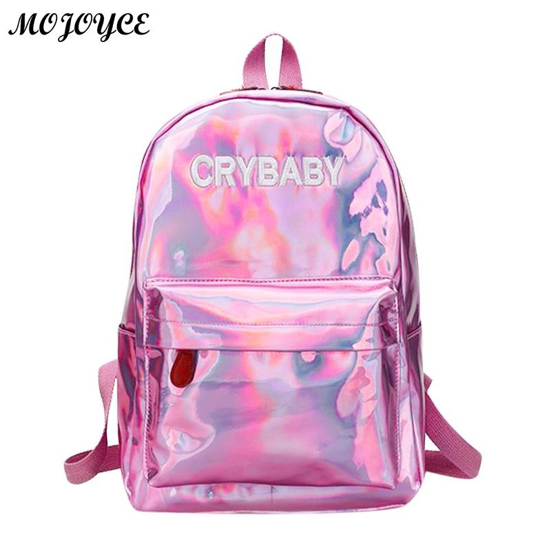Men Street Hip Pop Holographic Women Backpack Letters Laser Hologram Pu Leather Girls Shoulder School Backpacks Mochila Feminina