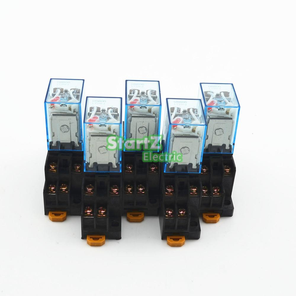 5Pcs Relay Omron LY2NJ 24V DC Small relay 10A 8PIN Coil DPDT With  Socket Base цена и фото