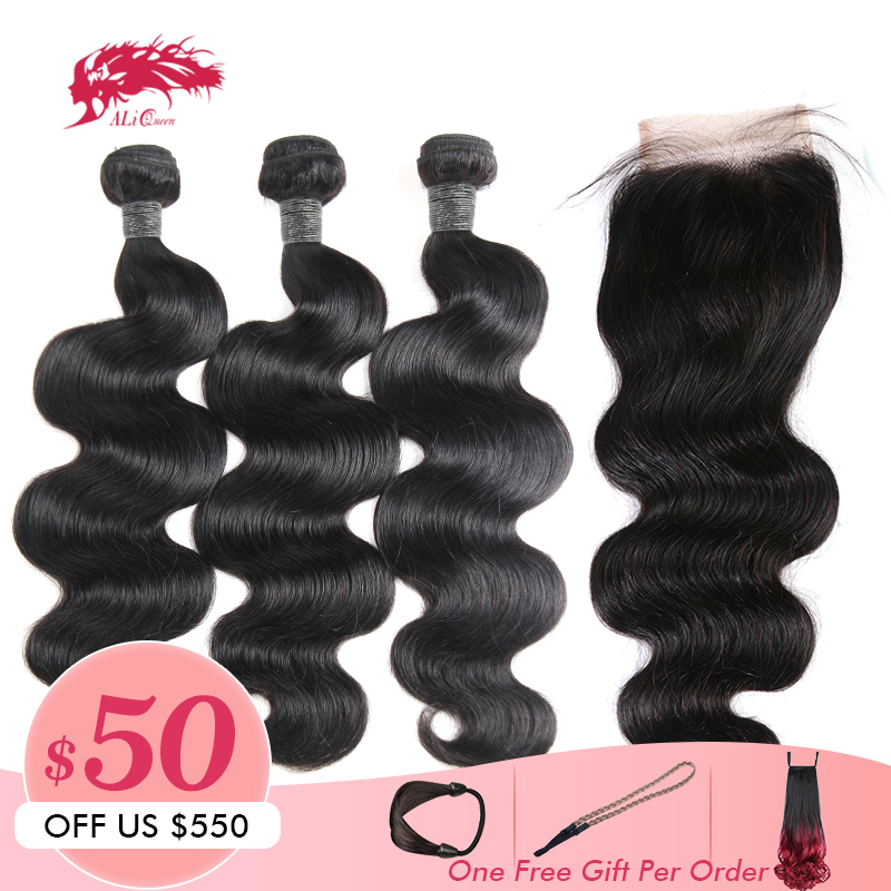 Hair-Products Closure Human-Hair Ali-Queen Lace Body-Wave Peruvian with Swiss Remy