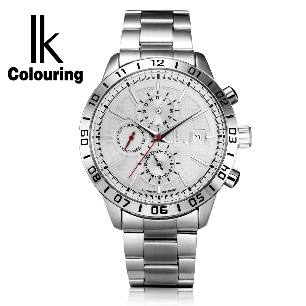 IK Colouring Clock Men Auto Date Day Stainless Steel Band Relogio Masculino Waterproof Automatic Mechanical Male Sports Watches tevise fashion auto date automatic self wind watches stainless steel luxury gold black watch men mechanical t629a with tool