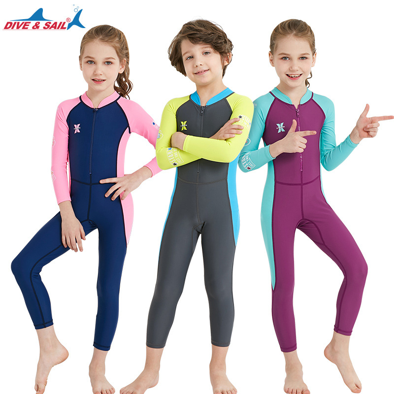 DIVE&SAIL Lycra Long Sleeve Wetsuit for Kids Boys Girls One Piece Diving Suit UV protection Swimwear Surfing Snorkel Rash Guards fluffy synthetic lolita curly flax mixed gold long side bang capless cosplay wig for women