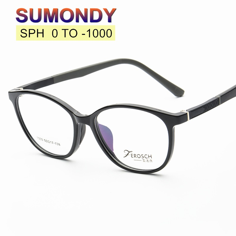 Filling Prescription SPH 0 To -10 Myopia Glasses Customized Men Women TR90 Frame Optical Spectacles Dioptre Nearsighted UP004
