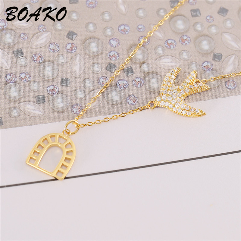 BOAKO Flying Bird Necklace Gold Bird Cage Necklaces Pendants Women Fashion 925 Sterling Silver Jewelry Zircon Crystal Necklace in Pendant Necklaces from Jewelry Accessories