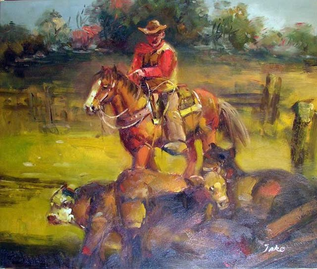 Western Cowboy Cattle Horse Corral 36X24 Oil Painting