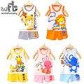 Розничные 1-3years комплект = жилет + брюки мальчиков девушки дети мультфильм рукавов детская Одежда детская Одежда Младенческой малыш Одежды летом