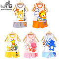 Retail 1-3years set=vest+pant baby boys girls kids cartoon sleeveless children Clothing baby Clothes Infant kid Garment summer