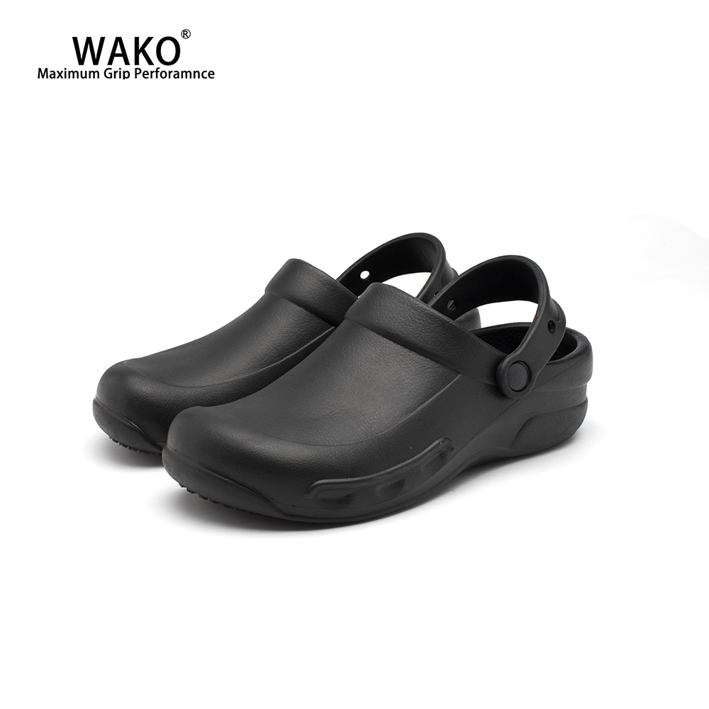 WAKO Chef Shoes Men Non-Slip Restaurant Kitchen Working Shoes Waterproof Safety Anti-Skid Hotel Cook Shoes Slip On Clogs 9018