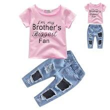 BOTEZAI summer childrens clothing girls short-sleeved T-shirt + long pants suit Mickey cartoon boy
