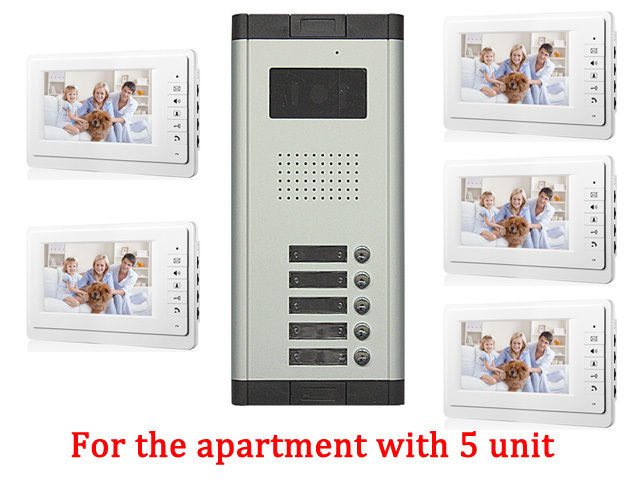 Apartment 5 Unit Intercom Entry System Wired Video Door Phone Audio Visual new apartment 2 unit intercom entry system wired video door phone audio visual
