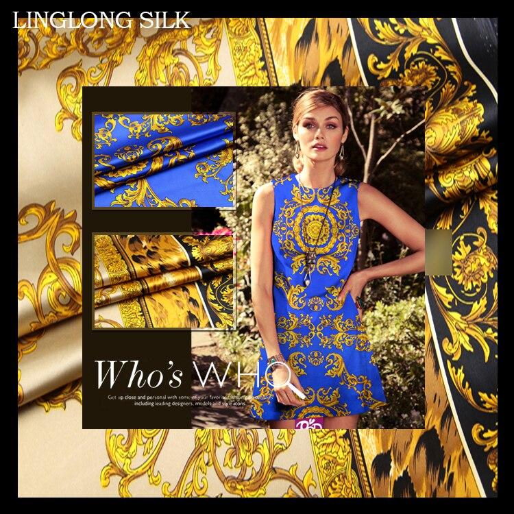 SATIN de soie extensible imprimé 108cm largeur 19 momme/Tissus de soie de mûrier pur pour robes de mariée à coudre léopard doré