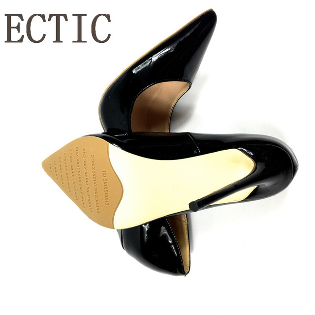 Brand Sexy Rivets Shiny Patent Leather High Heels Nude Pointed toe Pumps Shoes Party Shoes Women Stiletto High heel Pumps   5