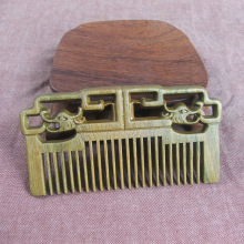 Top Grade Green Ebony Comb Chinese Woodcarving South American Green Macassar Ebony Comb Sandalwood Hollow Craft Pendant