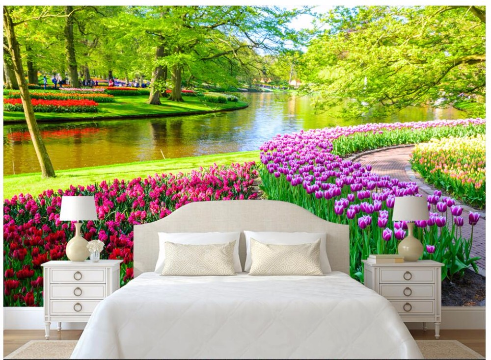 Custom photo 3d wallpaper Natural landscape forest tree tulips home decor living room 3d wall murals wallpaper for wall 3 d custom photo wallpaper natural scenery mangrove landscape custom wallpaper business hotel home decoration backdrop murals