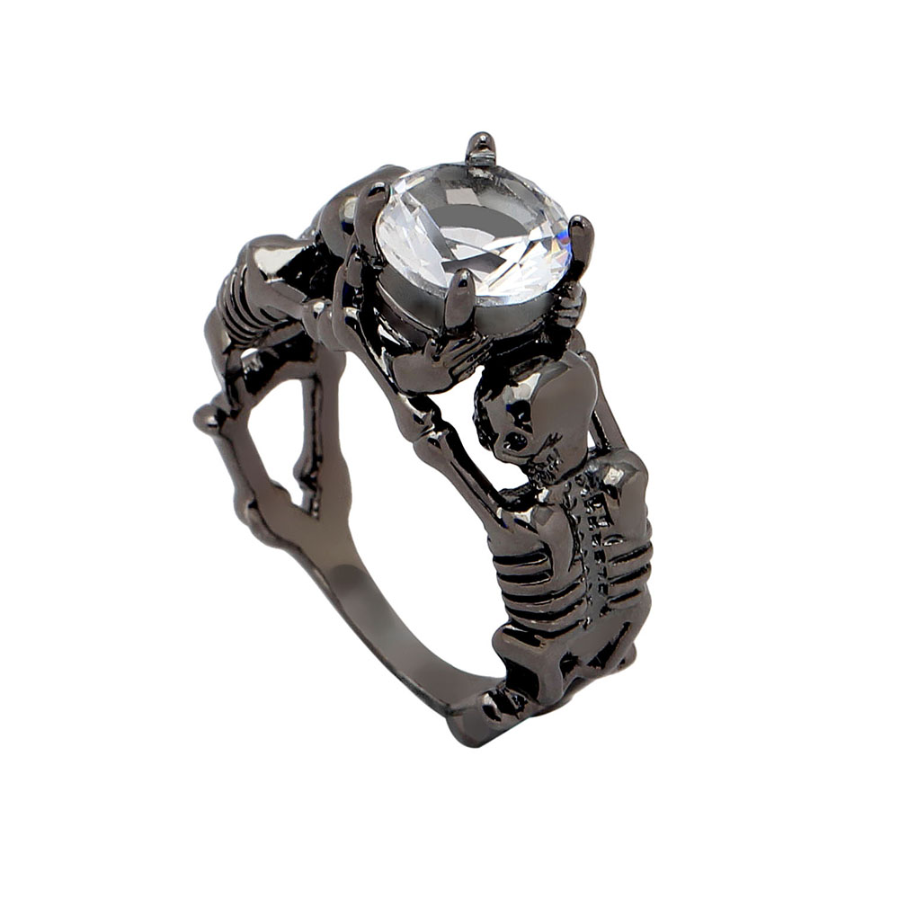 Ghost evil Skull skeleton Hand CZ Ring European and American Punk style Motor Biker Men Ring 2017 new skull men's jewelry