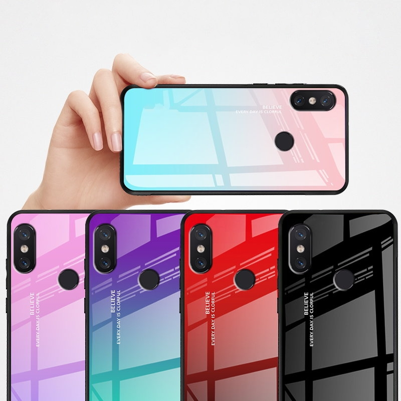 Tempered Glass Case for Xiaomi Pocophone F1 MI 8 SE Mi 8 Lite Explore Cover Gradient Case for Xiaomi Mi Mix 3 2s 2 Mi Max 3 2 in Fitted Cases from Cellphones Telecommunications