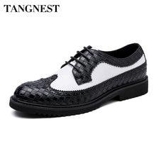 Tangnest/Мужская обувь с перфорацией типа «броги» в британском стиле; модная обувь в клетку из спилка; модельная обувь на плоской подошве для мужчин; цветная деловая обувь в стиле пэчворк; XMP868
