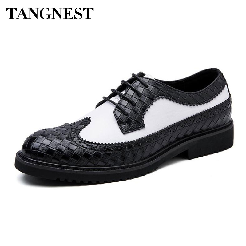 Tangnest British Style Men's Brogue Shoes Fashion Plaid Split Leather Dress Flats For Men Color Patchwork Formal Shoes XMP868 color block plaid dress
