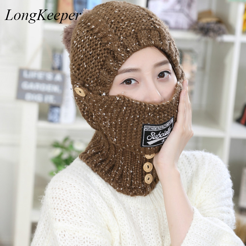 Womens Fall Fashion Hats Mask Beanies Winter Gorros for Female Knitted Warm Skullies Touca Chapeu Feminino M88 mengpipi womens letters knitted hats winter glass sequins beanie hat cap chapeu gorros de lana touca casquette cappelli bonnets